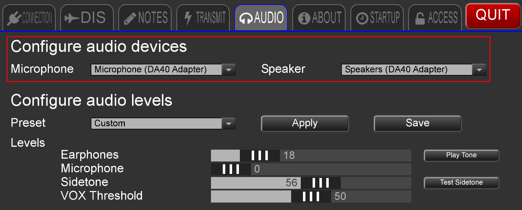Voisus Client App Audio Devices